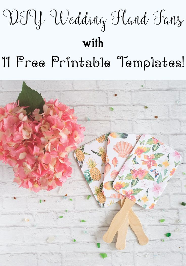 DIY wedding hand fans with free printable templates