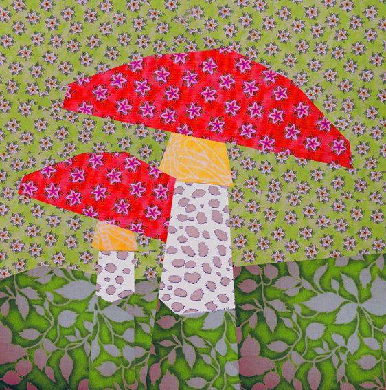 Mushroom Paper Pieced Quilt Block Pattern, PDF. $2.90, via Etsy.