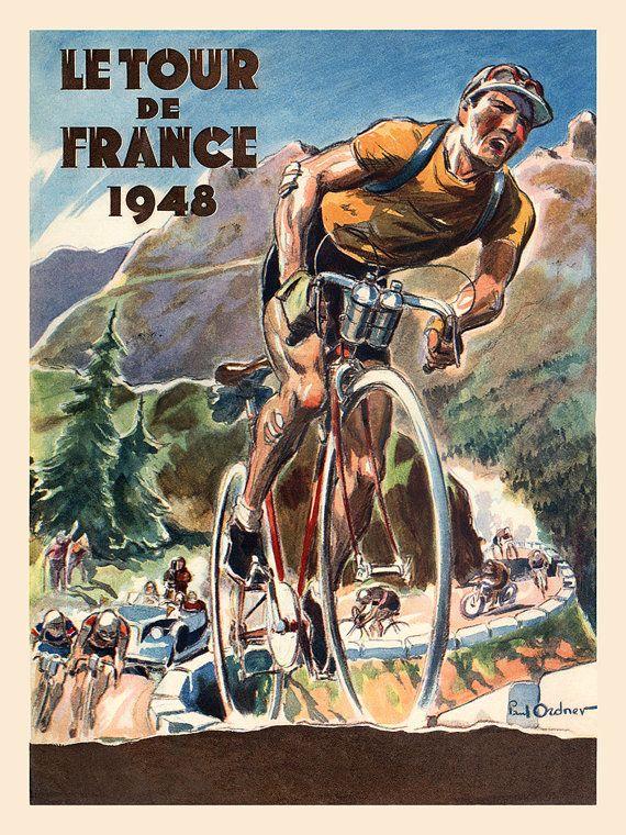 NAAM: Le Tour De France 1948  Artiest: Paul Ordner  CIRCA: 1948  OORSPRONG: Frankrijk  Deze posters zijn digitale kunst reproducties van een