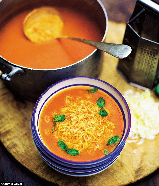 Jamie Oliver Summer Tomato Soup. Lots of lovely fresh tomatoes, plus chilli, give us a big hit of vitamin C here