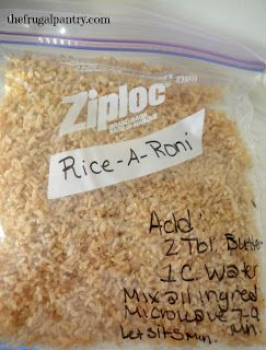 Chicken Rice-A-Roni Mix: 3/4 c. instant rice, 1/4 c. vermicelli, 1 T. each minced onion, chicken bouillon powder & parsley flakes, 1/4 t. each garlic powder & Italian seasoning. Add: 2 T. butter, 1 c. water. Boil. Simmer until done.
