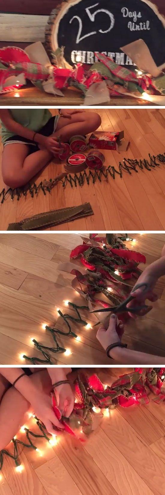 DIY Burlap Garland   DIY Rustic Christmas Decorations Cheap   Homemade Christmas Decor Ideas on a Budget
