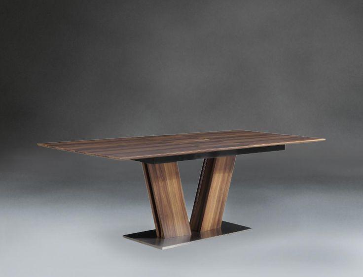 Современный стол Империя. Великолепный раскладной  стол на основании из нержавеющей стали.  Меламинированные столешница и вставка.