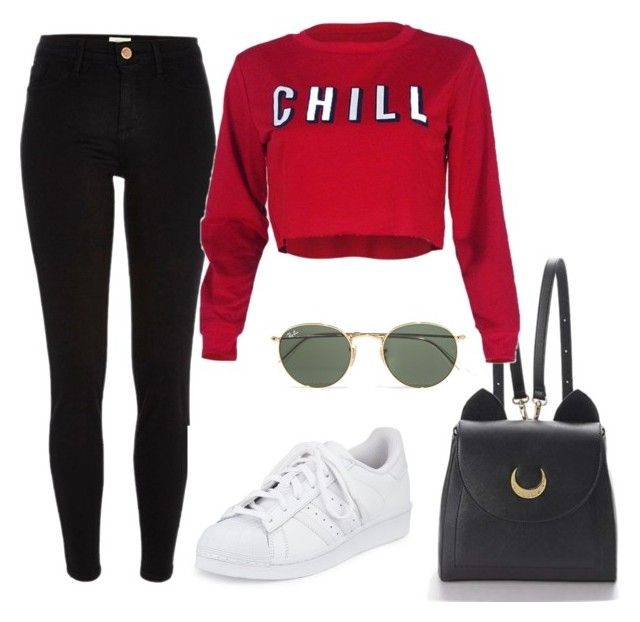"""""""College outfit ♥"""" by camibg on Polyvore featuring River Island, adidas, Ray-Ban and WithChic"""
