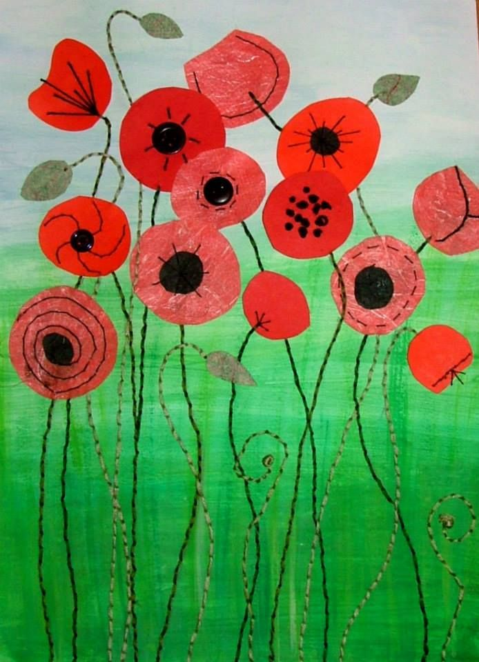 Poppies mixed media by Christine Pettet Art www.facebook.com/christinepettetart