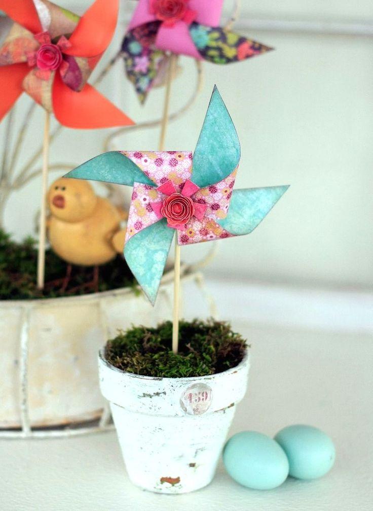 Blumentopf mit Windrad