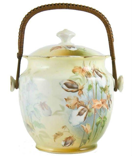 Antique English Art Nouveau Painted Porcelain Cookie Jar with a Woven Handle
