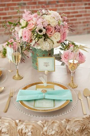 pink gold and mint wedding reception