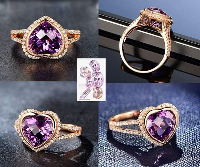Dark purple heart amethyst engagement ring, bezel set ...