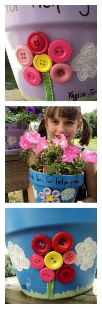 I like this idea to give to the teacher .......DIY flowerpots for teachers or moms...great spring craft for kids with paint and buttons #laurakellyart