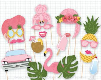 Printable Flamingo Party Photo Booth Props by PrintablePropShop