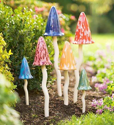"""I love these pottery Toadstools! (found on Plow & Hearth, but currently listed as """"not available"""") They are charming!"""