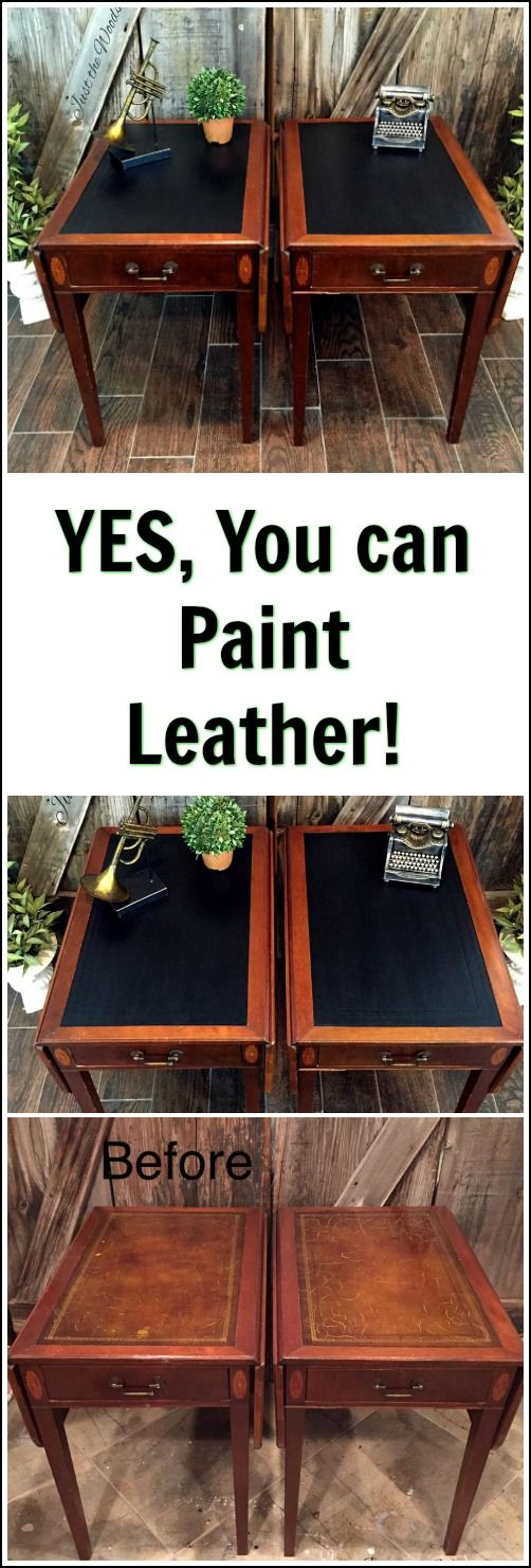 These vintage leather top tables were cracked and worn.  But you can paint leather! See how these vintage leather tables were freshened up with paint