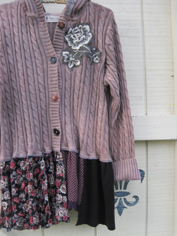 Boho sweater Dyed plum pink cardigan XL Bohemian hooded