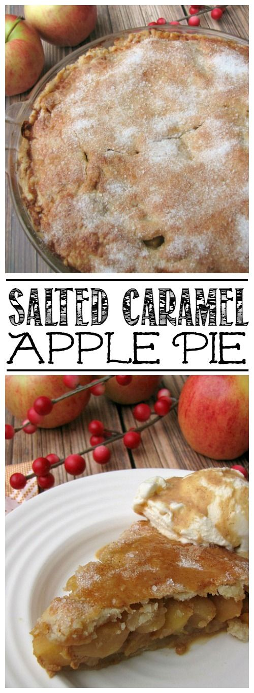 Kick things up a notch with this amazing salted caramel apple pie. It makes the perfect dessert for Thanksgiving or Christmas dinner!
