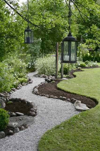Pebble path with riverstone edging.
