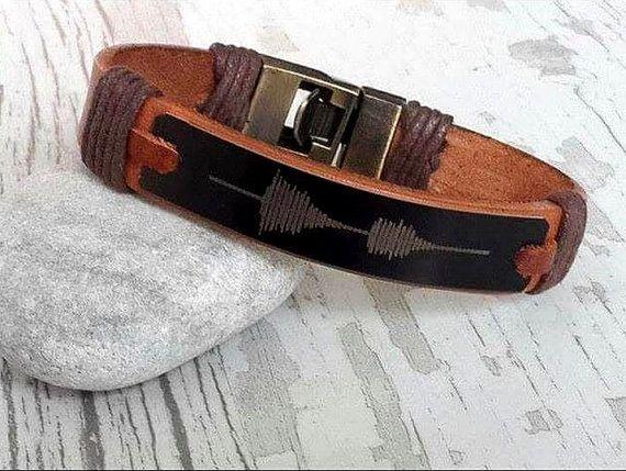 Mens Leather Bracelet Customized Leather Bracelet by tovvanda