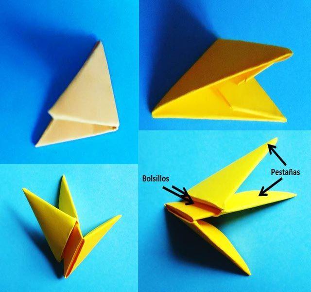 Cómo doblar elin triángulo básco para hacer figuras de origami 3D