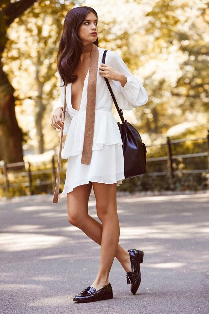 Sara Sampaio Fashion models white gathered dress in REVOLVE Clothing's fall essentials lookbook 2015