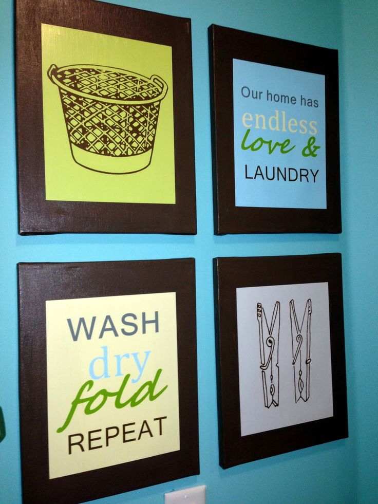 Laundry Room Decor Prints DIY... like the idea not these specific pictures/ colors for me though