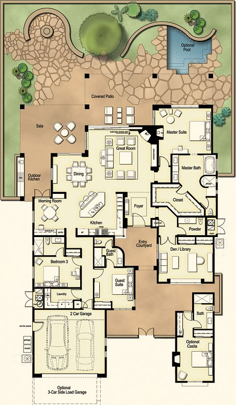 Ranch House: This three- or four-bedroom maintains intimacy with a bold scale. At the heart of the plan is a great room with a corner fireplace for family gatherings. As with all of our homes, retractable glass walls bring the beauty and open feeling of the Sonoran desert inside.
