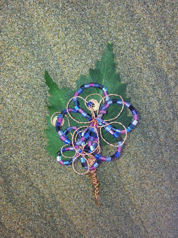 Harlequin Flower Purple Beaded Copper Wire by OnenJewellery, £10.00
