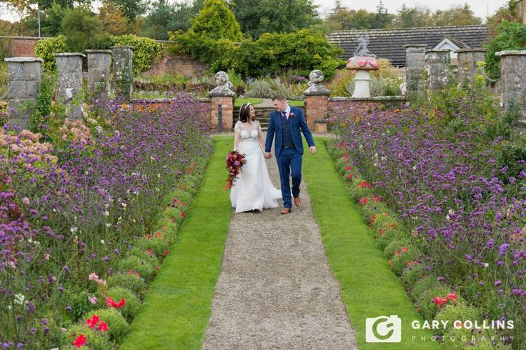 Wedding photography Clare | Bride and Groom in the walled garden of Dromoland Castle before their reception in The Inn at Dromoland
