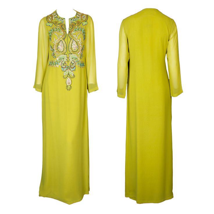 A floor-length yellow Kaftan dress with brocade embellishment on the bodice by Mynahs #mynahs #yellow #dress #gbmoda #hautecouture #fashion #ramadan #brocade #abudhabi #kaftan #luxury #greenbird #marinamall #trend #dubaifashion #elegance
