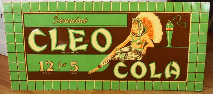 Very RARE Cleo Cola Tin Embossed Antique Art Deco Soda Sign Egyptian Harem Girl | eBay