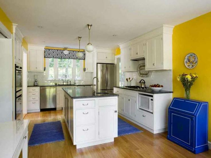 Traditional Galley Style Kitchen Cabinets White Bright Yellow Blue By Herminia Find This Pin And More On Color Ideas