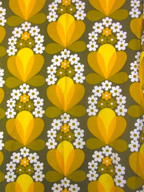 Vintage 1970s Olive And Yellow Daisy Curtain Panel by Pommedejour, $45.00