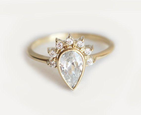 £830.32 Diamond Engagement Ring With Prong Set Diamonds Half by MinimalVS