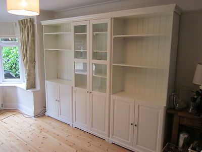 My bookcases (2 outside) without the glass! Liatorp IKEA