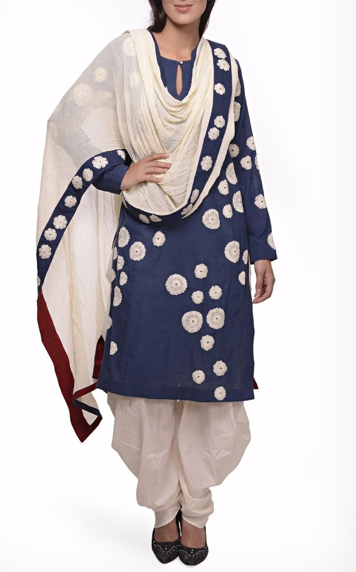 JOY MITRA EMBROIDERED INDIGO COTTON KURTA SET WITH CHIFFON DUPATTA.