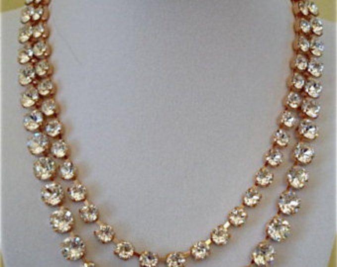 Rose Gold Two Strand Swarovski Crystal Bridal Necklace, Diamond Cut Crystal Statement Necklace, wedding necklace, multi strand necklace,
