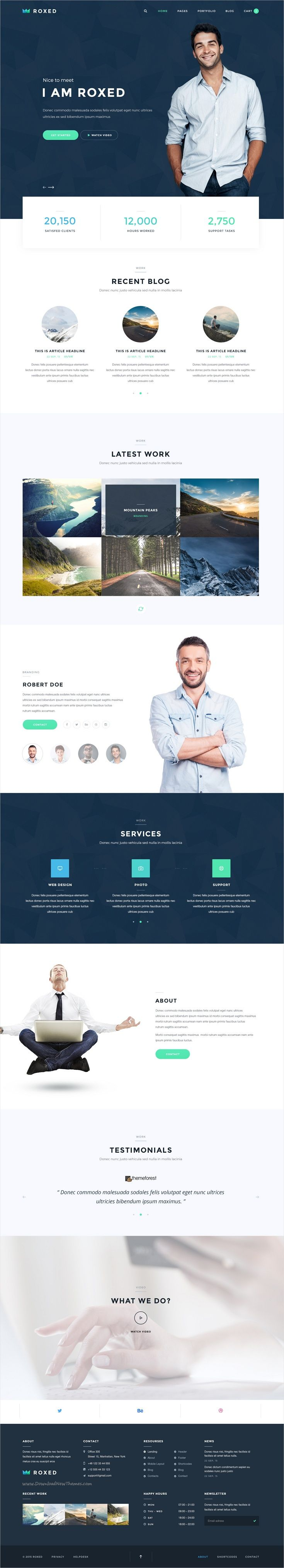 Roxed is single page clean and modern design #Photoshop #theme for #freelancer, business, corporate or personal website with 3 unique homepage layouts download now➩ https://themeforest.net/item/roxed-landing-page-psd-template/17460331?ref=Datasata