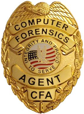 "Add credibilty to your investigative work and procedural prowess with this, Computer Forensics Agent badge.  Measuring 3"" x 2 1/4"", this gold-colored badge features, a detailed eagle/flag center seal, and is outfitted with a heavy duty clip style attachment. $39.95"