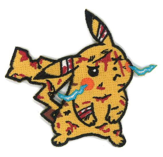Battle Damage Pikachu Iron-on Patch Pokemon by PsychoSwami on Etsy