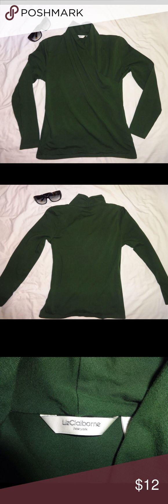 Liz Claiborne Long Sleeve Top Green, Liz Claiborne, mock wrap, long sleeve top. Gently used. No flaws. Liz Claiborne Tops