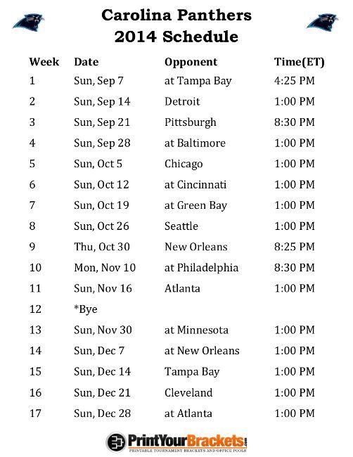 Printable Carolina Panthers Schedule - 2014 Football Season