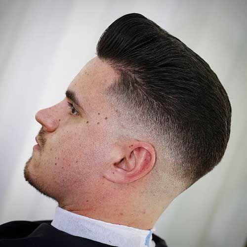 Skin Fade Pompadour - Low Skin Fade Haircut