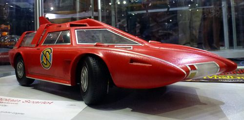 """Spectrum Patrol Car (SPC) or Spectrum Saloon Car (SSC), 1967 (2068). A prop from the Gerry and Sylvia Anderson """"Supermarionation"""" TV series Captain Scarlet and the Mysterons. Set in 2068, the SPC/SSC was powered by a gas turbine which drove all 4 wheels to speeds of up to 195mph. The scale model used in the TV series was designed and built by Mike Trim"""