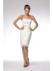 Chiffon Strapless slim tulip Skirt Knee-Length Wedding Dress