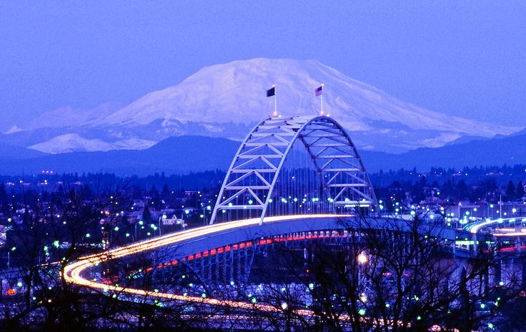 Fremont Bridge in Portland. In the background is Mt. St. Helens.