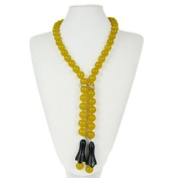 Collana lunga a sciarpa di Agata gialla ed Ossidiana 100cm £85