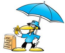 Sid Seagull wearing sun protective clothing, hats and sunglasses, with sunscreen and shade