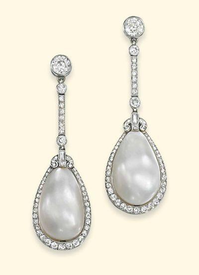 Natural pearl and diamond earrings circa 1920 - via Christie's