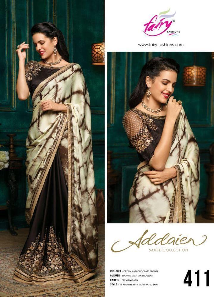 Premium Satin Designer Embroidered Blouse Motif work Saree Wedding Indian Sari 0 #Handmade #SareewithUnstitchBlousePiece