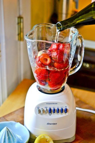 Strawberry Wine Slushies! Use Brotherhood May Wine (has strawberry juice IN it) and cut the table sugar in this recipe in half!