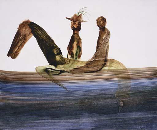 'Figures on Horseback' from Gallipoli series, Sir Sidney Robert Nolan. Australian (1917 - 1992)